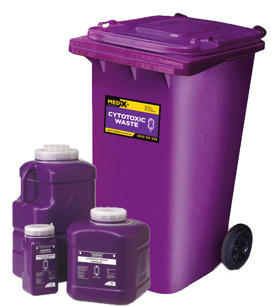 Purple cytotoxic waste bin and 3 different sized cytotoxic waste containers