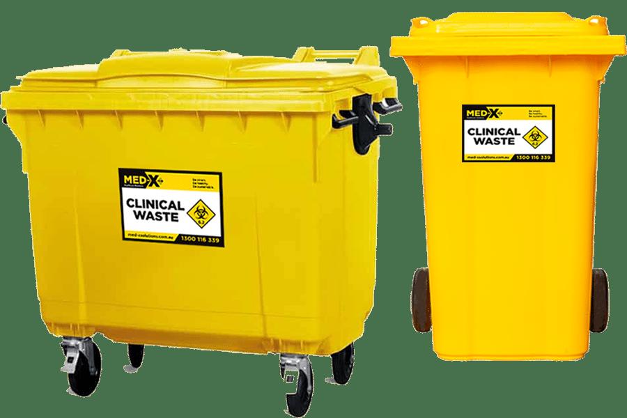 2 yellow external clinical waste bins