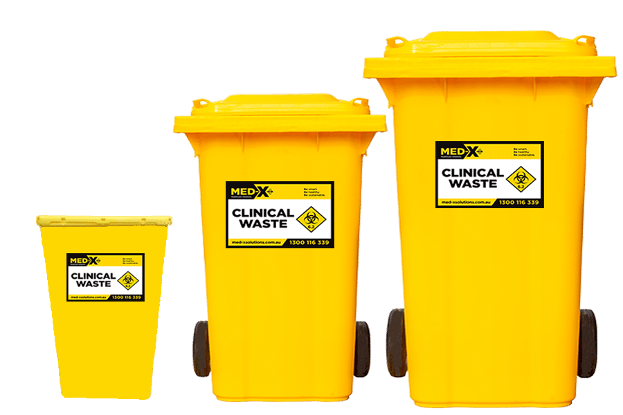 Yellow clinical waste bins in 3 different sizes