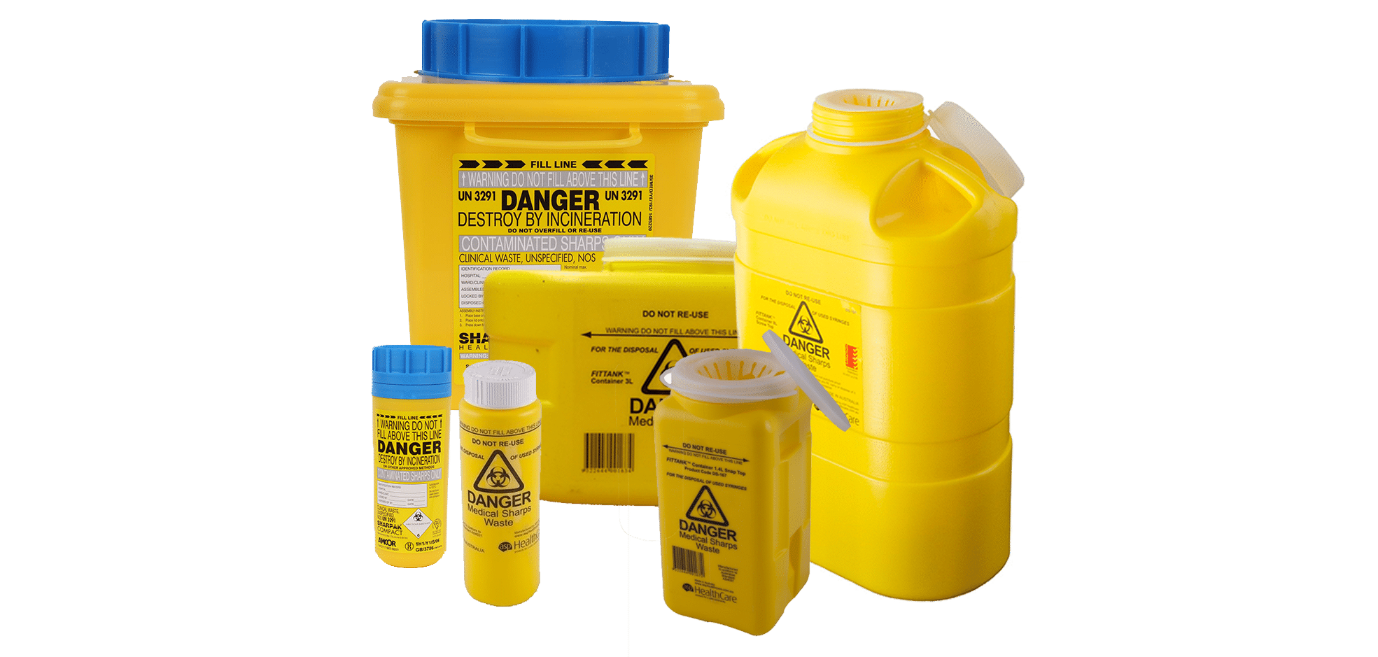 6 yellow medical sharps containers in a range of sizes