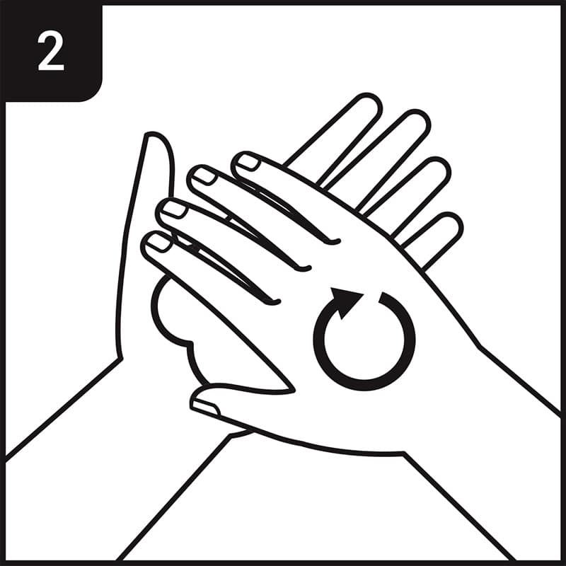 Hand washing process step 2 - rub hands palm to palm in rotational motion