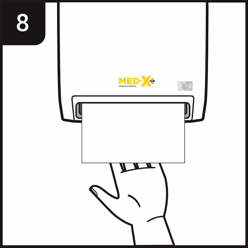 Hand washing process step 8 - dry both hands thoroughly using paper towel