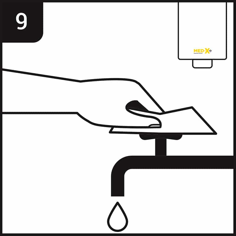 Hand washing process step 9 - use paper towel to turn off tap