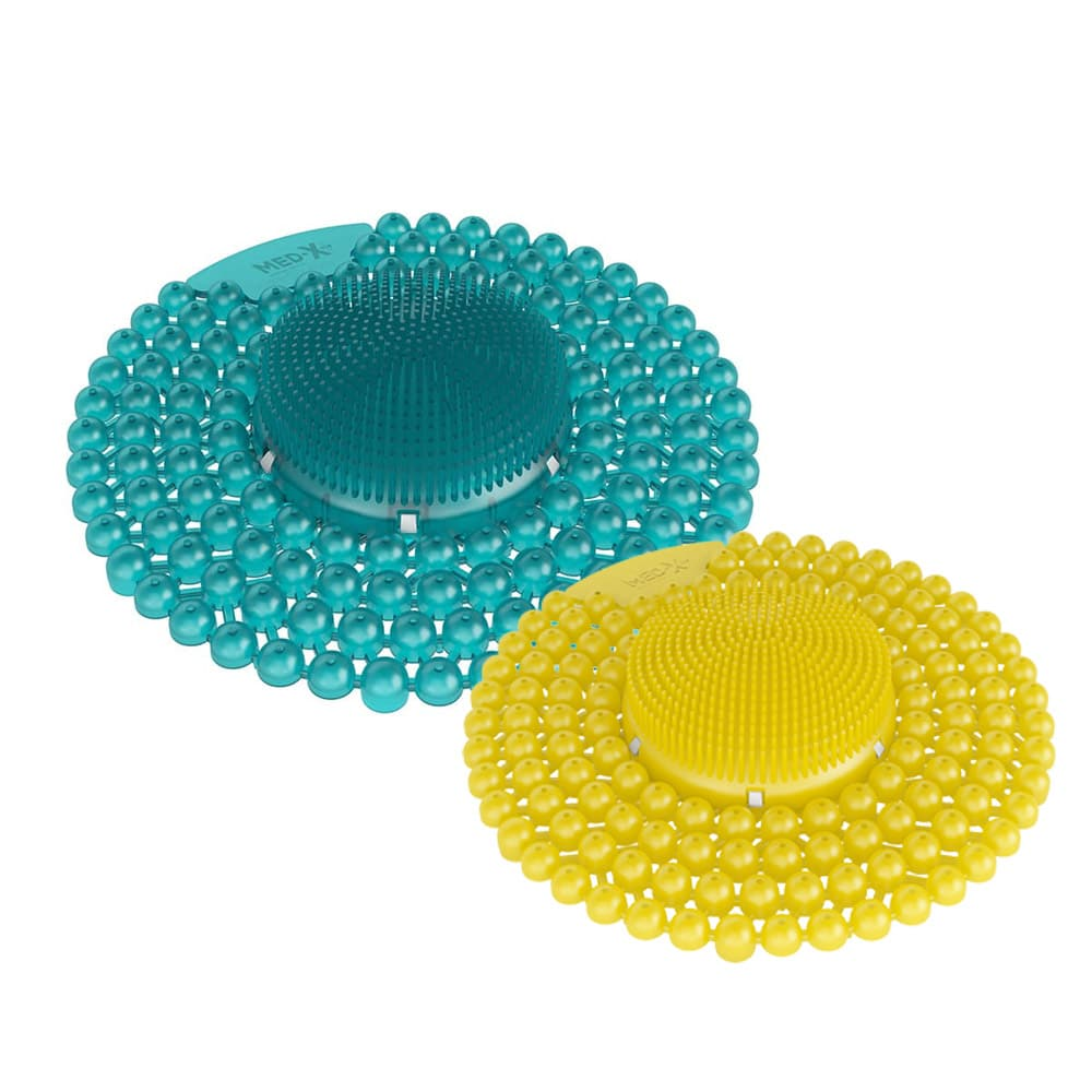 Turquoise and yellow urinal deep cleaners